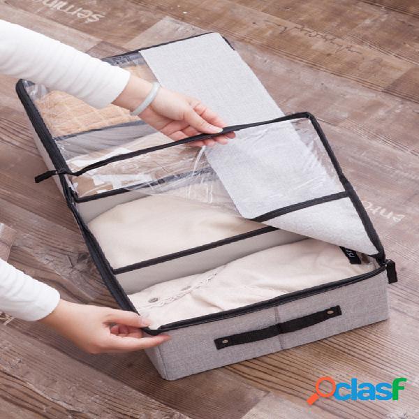 120l lavável multifuncionala sapato transparente caixa roupas íntimas de algodão linho armazenamento caixa