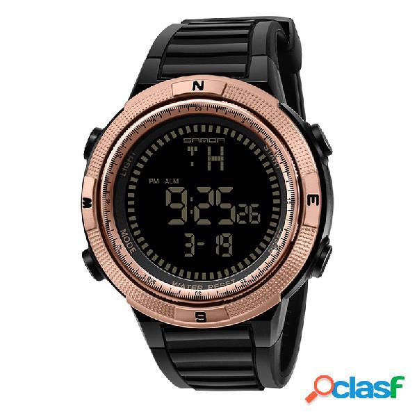 Esporte relógio digital impermeável relógio de pulso multifuncional luminoso em aço inoxidável para homens
