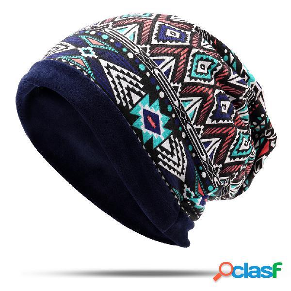Mulheres étnica de algodão macio de veludo beanie chapéu do vintage bom elástico quente inverno turbante cachecol tampas