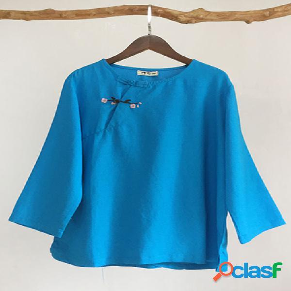 Mulheres soltas camisas de botão de bordado de cor sólida