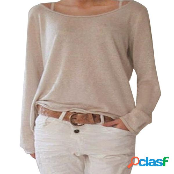 Mistura de algodão casual manga comprida em torno do pescoço blusa mulheres