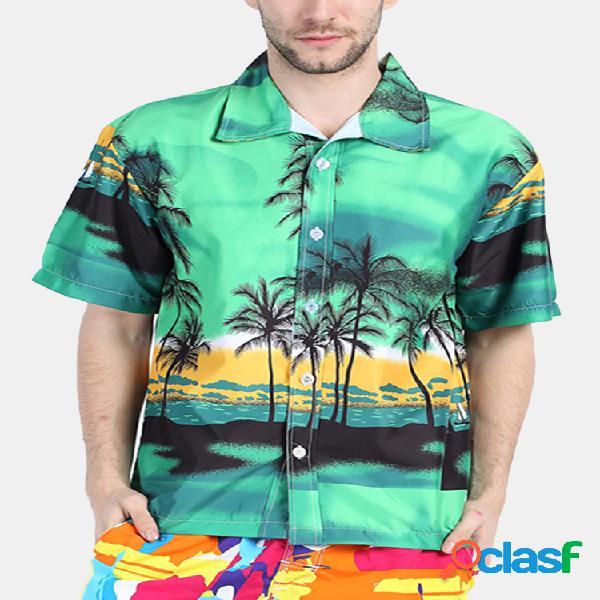 Camisa homens hawaiian impressão de árvore de coco praia nadar respirável