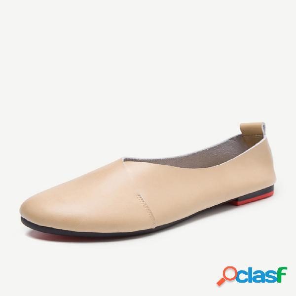 Sapatos de couro tamanho grande comfortável sapatos de salto plano