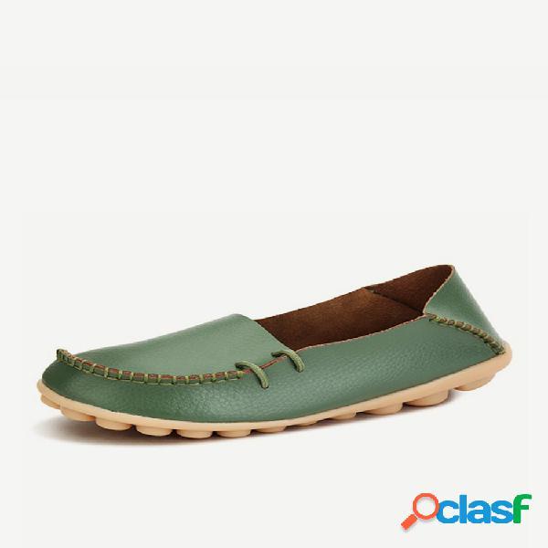 Tamanho grande pu cor pura sola suave respirável casual sapatos planos de rendas para mulheres