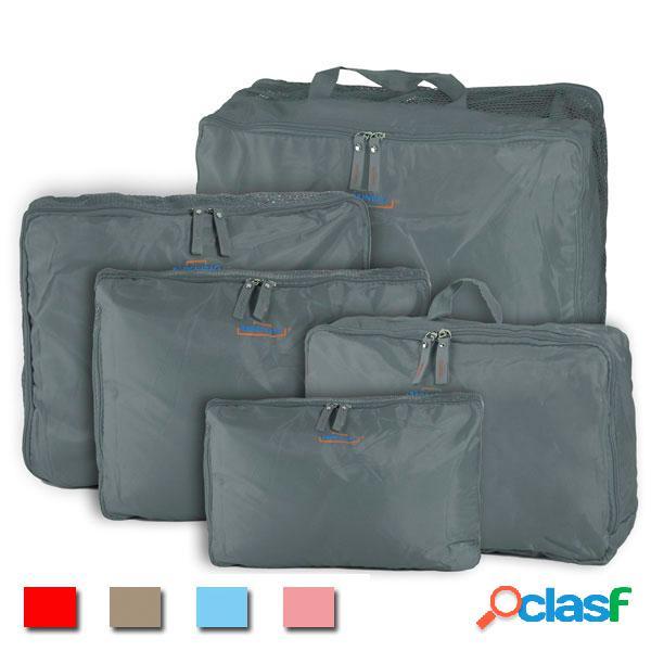 5peças bolsa tricotada coméstica zíper de armazenamento