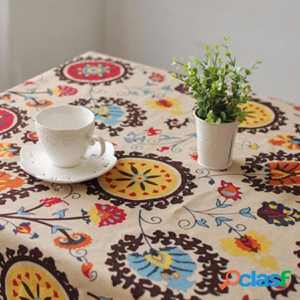 Flor do sol, algodão, linho, talheres, tapete, corredor, mesa, toalha de mesa, capa, tigela, isolamento térmico