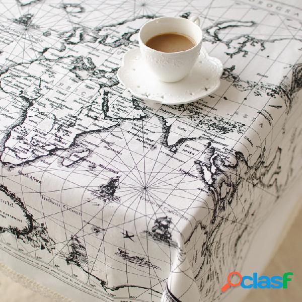 Mapa mundial padrão algodão, linho, talheres, toalha de mesa, toalha de mesa, toalha de mesa, isolamento térmico, almofada