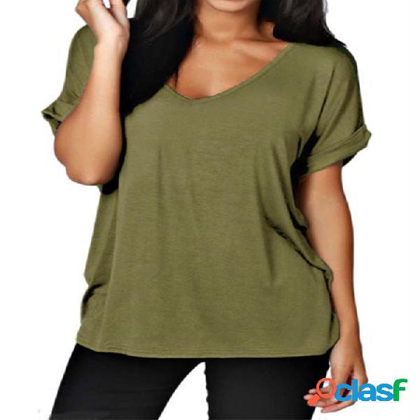 Camiseta de manga curta casual cor sólida com decote em v para mulheres