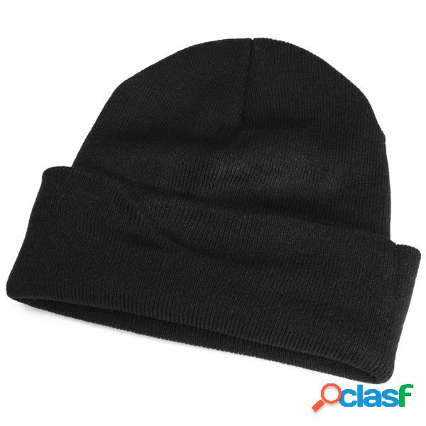 Homens mulheres cor sólida casual soft plain knit beanie chapéu