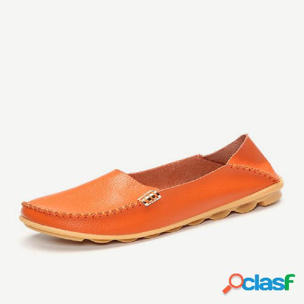 Grande tamanho cor pura deslizamento macio em couro casual confortável sapatas planos