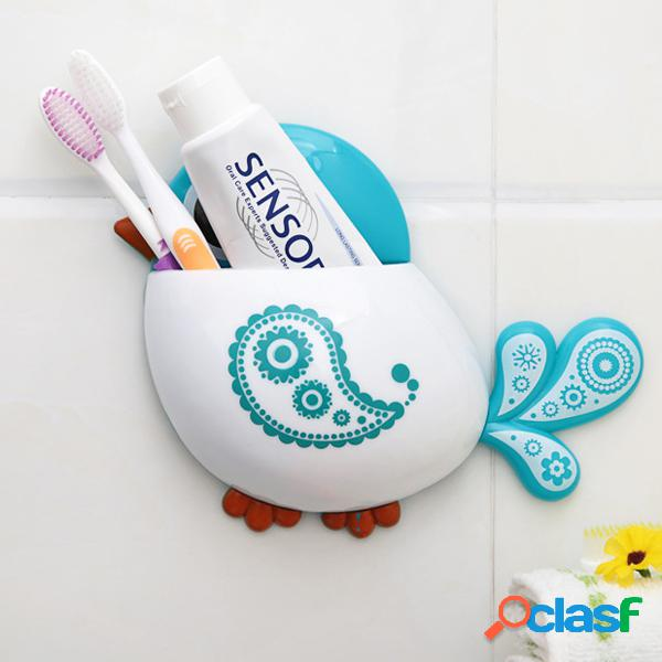 Suporte multifuncional de escova de dentes para pássaros ganchos de sucção para acessórios banheiro