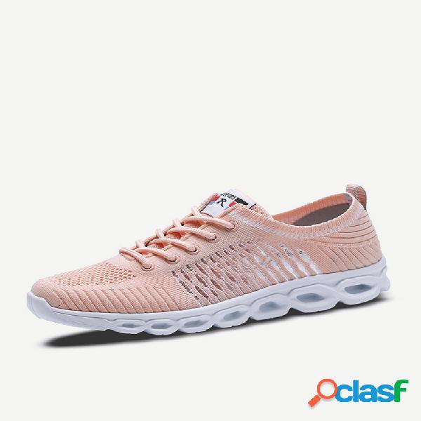 Malha respirável oca caminhada esportiva soft sapatilhas de amarrar