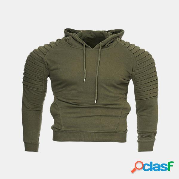 Mens pullover com capuz tops com capuz com zíper bolso cor sólida slim hoodies