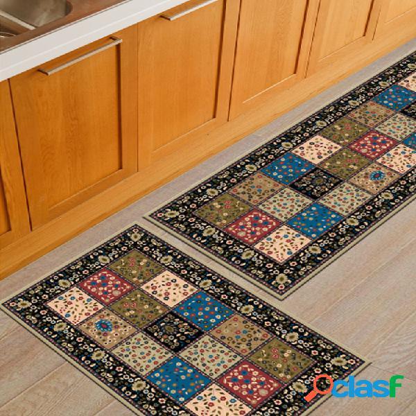 2 unidades / conjunto de tapete de cozinha com tapete antiderrapante para área banheiro tapete de porta