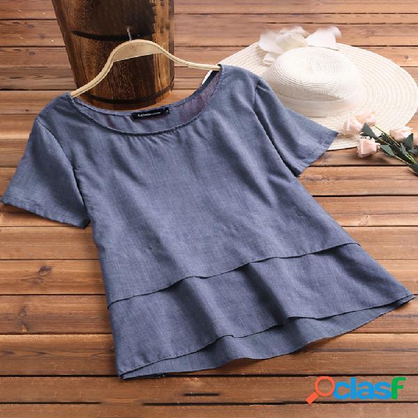 Casual cor sólida camadas manga curta plus tamanho blusa