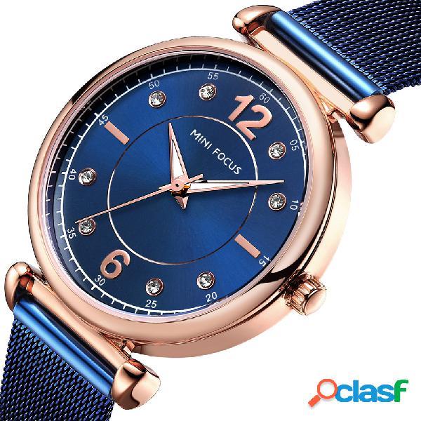 Relógio de pulso feminino elegante design em malha de aço relógio de quartzo feminino