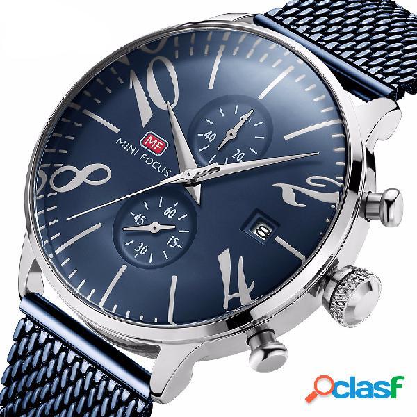 Relógio de pulso masculino estilo empresarial à prova d'água com exibição de data e relógio de quartzo