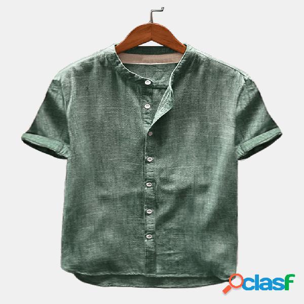 Camisas de manga curta vintage masculina respirável de linho