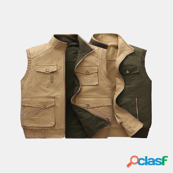 Colete masculino dupla face vestível sem mangas colete de algodão velo colete casual com zíper