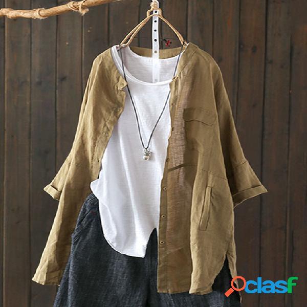 Cor sólida vintage alta baixa plus tamanho longo camisa