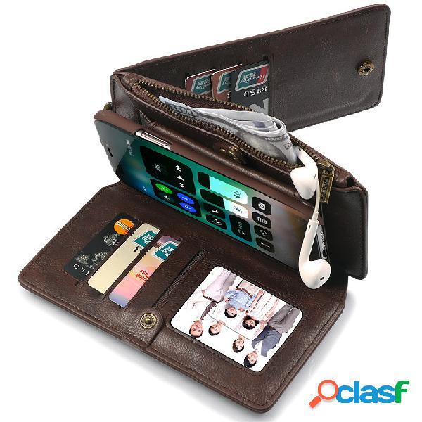 Unisex cor sólida pu + carteira de couro do telefone móvel caso multi-função de telefone de proteção caso bolsa
