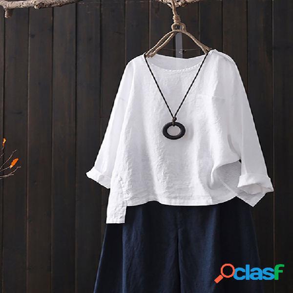 Blusa de cor sólida manga comprida alta baixa vintage plus tamanho