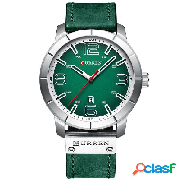 Curren 8327 exibição de data estilo casual masculino relógio de pulso em couro banda quartzo