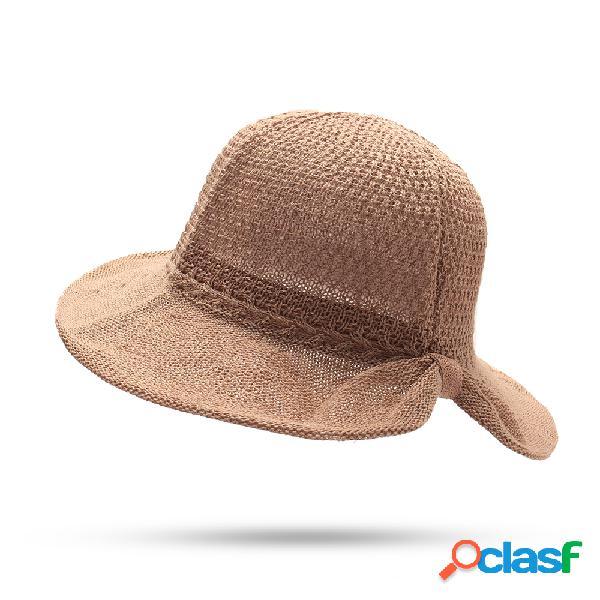 Mulheres dobrável verão cor sólida algodão praia sol balde chapéu viagem ao ar livre chapéu