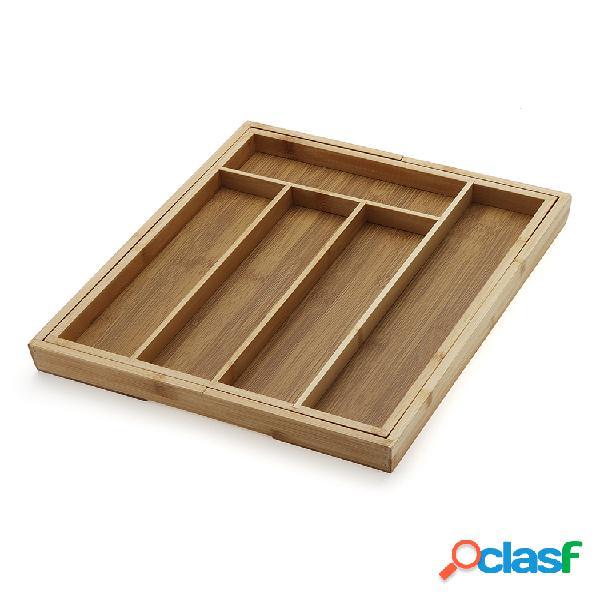Bandeja de talheres de bambu para organizador de gavetas para cozinha e armazenamento de talheres para utensílios expansíveis caixa