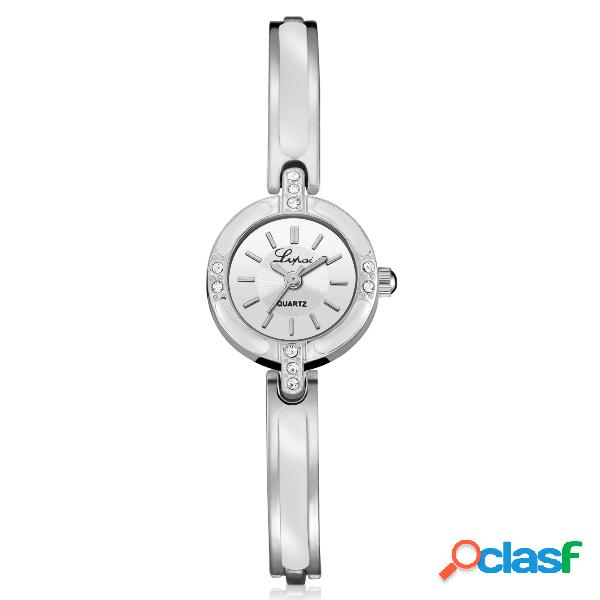 Relógio de cristal feminino com pulseira de diamante, totalmente em aço, estilo casual, quartzo