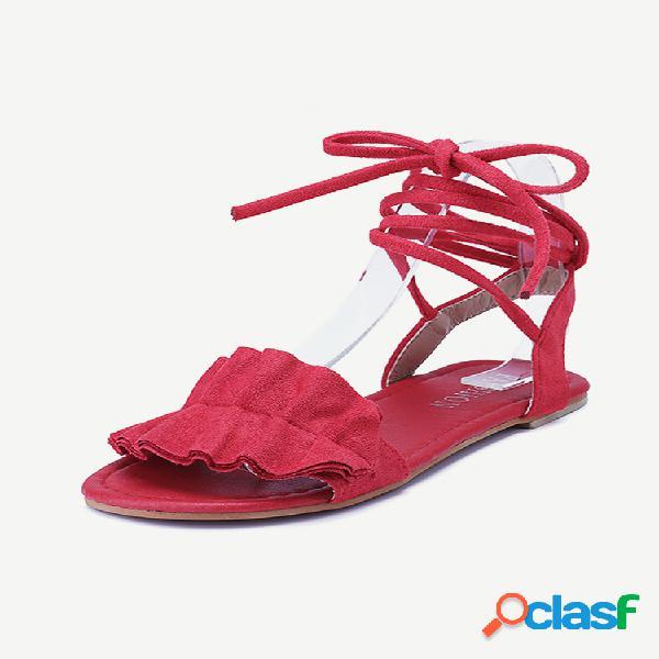 Sandálias planas tamanho grande feminino casual camurça com tiras de cor sólida