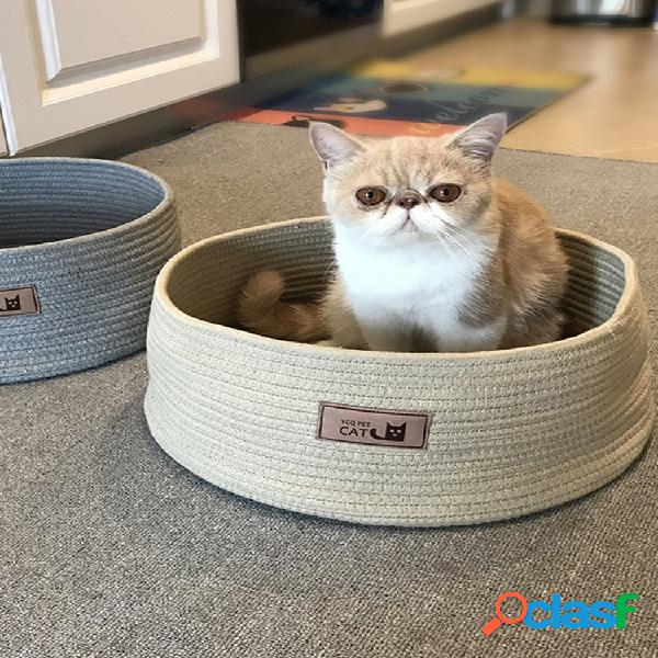 2 cores algodão corda tricô gato canil pet anti-scratch canil cama