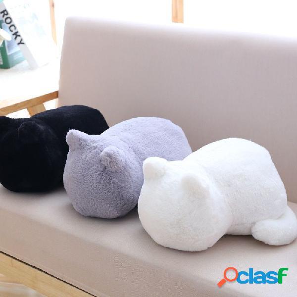 Almofada curta de pelúcia pp algodão recheado para gato criança boneca almofada almofada de trás preto branco cinza brinquedos para gato