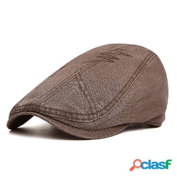 Homens ajustável algodão cor sólida beret cap sombrinha casual ao ar livre repicado para a frente chapéu