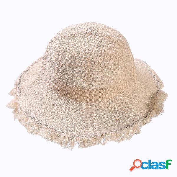 Mulheres dobrável algodão linho sol praia sol chapéu ao ar livre verão viagens sol chapéu
