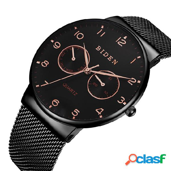 Relógio de pulso masculino ultrafino estilo casual semana tela de malha de aço relógio de quartzo