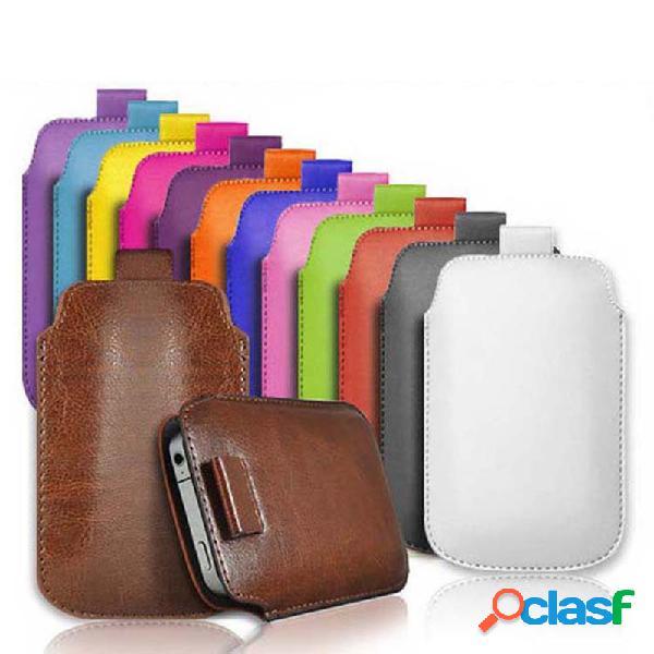 Unisex pu multifunções para corpo inteiro cor sólida várias cores telefone iphone caso