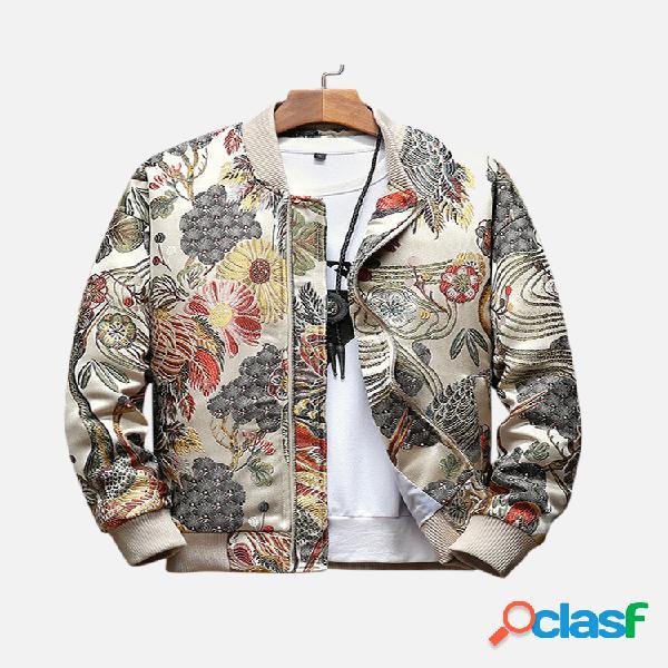 Jaqueta masculina estilo étnico bordado com zíper floral com zíper slim fit casual de beisebol
