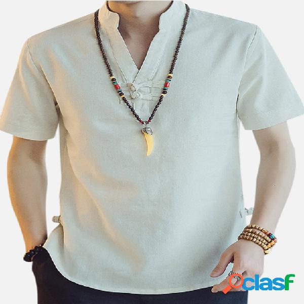 Mens estilo nacional algodão linho verão manga curta casual camiseta
