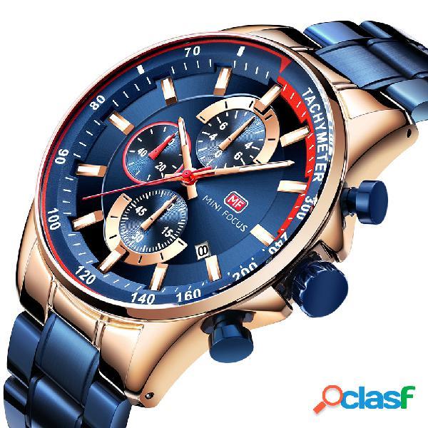 Relógio de pulso masculino de exibição de data estilo comercial trabalhando little dial relógio de quartzo de aço completo