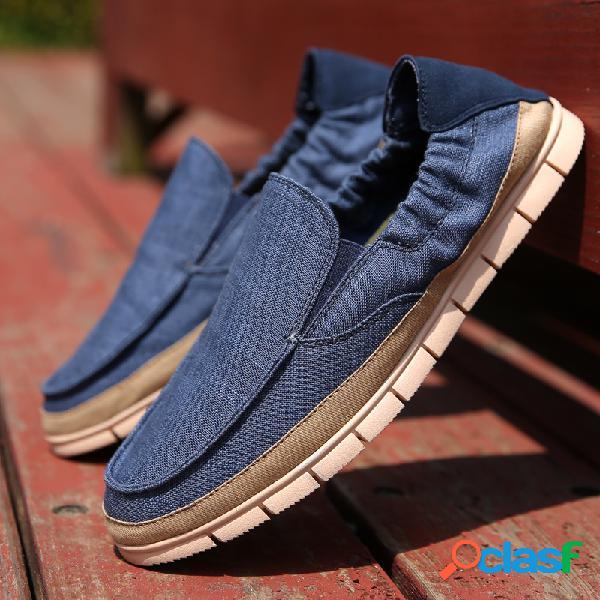 Homens tecido splicing deslizamento respirável em soft sola sapatos casuais