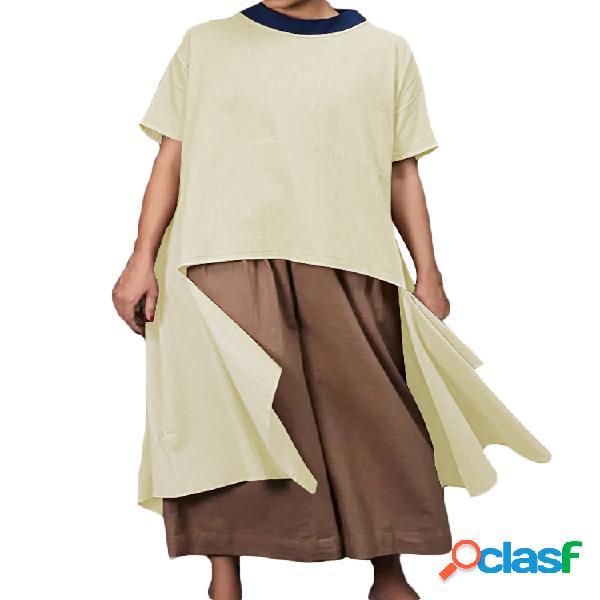 Casual irregular meia manga cor sólida plus tamanho blusa