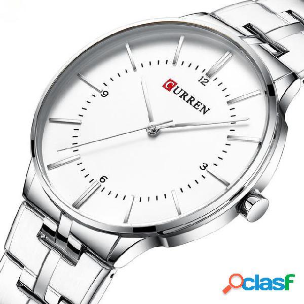 Relógio de quartzo de estilo de negócios relógio de pulso de homens de estilo casual de aço completo