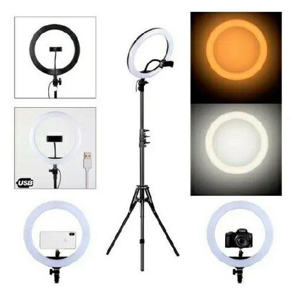 Ring light led iluminador 26cm 10 polegadas completo 2,1m
