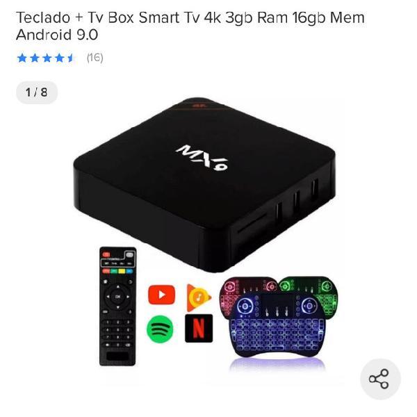 Teclado + tv box smart tv 4k 3gb ram 16gb mem android 9.0