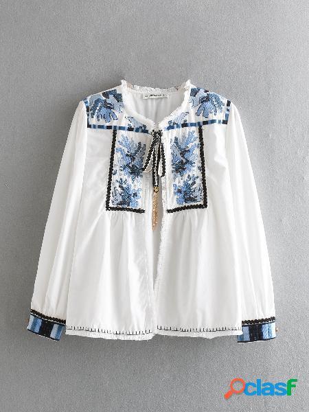 Camisas casuais de manga longa de bordado floral boêmio