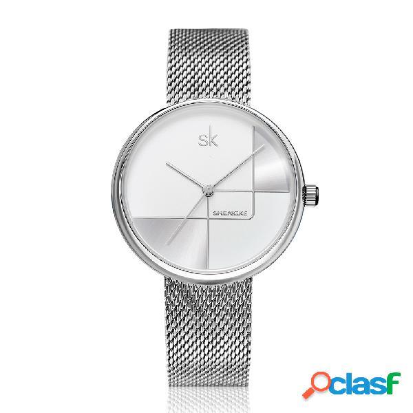 Linha geométrica simples agulha dial mulheres full steel ladies dress relógio de quartzo de luxo