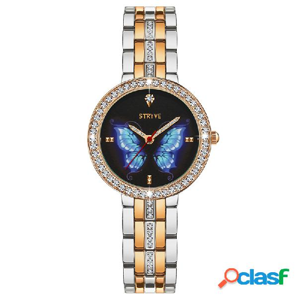 Luxo cristal caso mulheres de aço completo relógio senhoras vestem relógio de quartzo