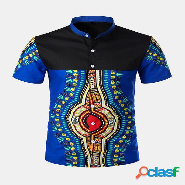 Mens estilo étnico impresso patchwork manga curta verão respirável casual camisa