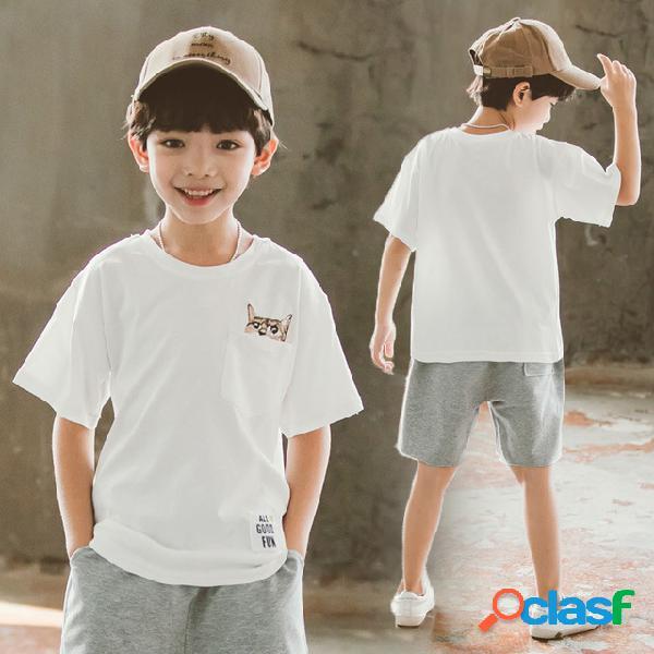 Roupas infantis menino t-shirt algodão de manga curta camisa